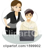 Teenage Guy Intern Helping A Woman With Her Computer