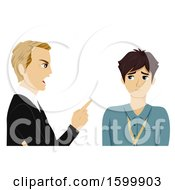 Clipart Of A Teenage Guy Intern Getting Scolded By His Boss Royalty Free Vector Illustration