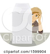 Clipart Of A Stressed Teenage Guy Intern With A Giant Stack Of Paperwork Royalty Free Vector Illustration