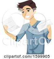 Clipart Of A Teenage Guy Reading An Intern Acceptance Letter Royalty Free Vector Illustration