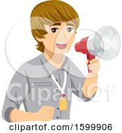 Clipart Of A Teenage Guy Intern Using A Megaphone Royalty Free Vector Illustration