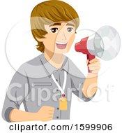Teenage Guy Intern Using A Megaphone