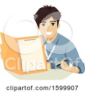 Clipart Of A Teenage Guy Intern Holding A File Folder Royalty Free Vector Illustration