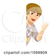 Clipart Of A Teenage Guy Intern Waving Around A Board Royalty Free Vector Illustration