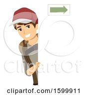 Clipart Of A Traveling Teen Guy Wearing A Backpack And Looking Around A Board With An Arrow Royalty Free Vector Illustration