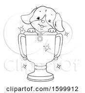 Clipart Of A Lineart Puppy Dog In A Trophy Cup Royalty Free Vector Illustration