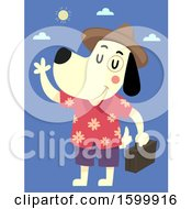 Clipart Of A Traveling Dog Wearing A Hawaiian Shirt And Waving Royalty Free Vector Illustration