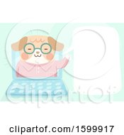 Clipart Of A Dog Talking And Emerging From A Laptop Screen Royalty Free Vector Illustration