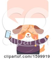 Clipart Of A Dog Holding A Smart Phone And Talking Royalty Free Vector Illustration