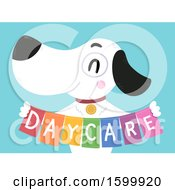 Clipart Of A Happy Dog Holding A Day Care Banner Royalty Free Vector Illustration