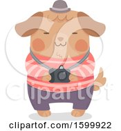 Clipart Of A Happy Dog Holding A Camera Royalty Free Vector Illustration