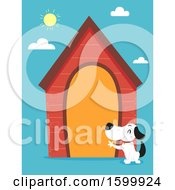Clipart Of A Dog Waving By His Large House Royalty Free Vector Illustration
