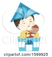 Clipart Of A Happy Boy Holding A Dog In A Toy Pet Shop Royalty Free Vector Illustration