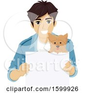Young Man And Dog With A Blank Sign