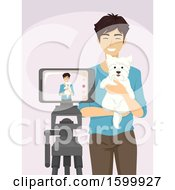 Clipart Of A Young Man Holding A Dog And Recording A Video Royalty Free Vector Illustration