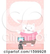 Clipart Of A Talking Kitty Cat Recording A Video Royalty Free Vector Illustration