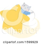 Clipart Of A Kitty Cat Riding A Star And Waving Royalty Free Vector Illustration