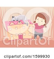 Clipart Of A Happy White Girl With A Pet Cat Sleeping On Her Doll House Royalty Free Vector Illustration