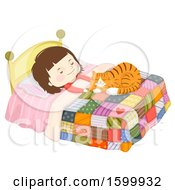 Clipart Of A Brunette White Girl Sleeping Happily With A Ginger Cat On Her Bed Royalty Free Vector Illustration