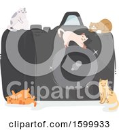 Clipart Of A Giant Camera With Kitty Cats Royalty Free Vector Illustration