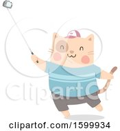 Clipart Of A Kitty Cat Taking A Selfie With A Stick Royalty Free Vector Illustration