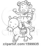 Clipart Of A Lineart Monkey Standing On A Horse Royalty Free Vector Illustration
