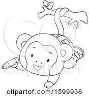Clipart Of A Lineart Monkey Hanging From Its Tail And Holding A Crayon Royalty Free Vector Illustration