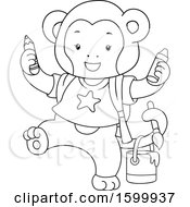 Clipart Of A Lineart Monkey With Crayons And Paint Royalty Free Vector Illustration