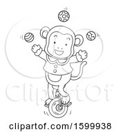 Clipart Of A Lineart Circus Monkey Juggling And Riding A Unicycle Royalty Free Vector Illustration