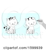Clipart Of A Hand Holding A Marker Playing Spot The Difference Between Two Drawings Of A Smiling Cat Royalty Free Vector Illustration