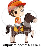 Clipart Of A Brunette White Jockey Boy On A Horse Royalty Free Vector Illustration
