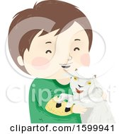 Clipart Of A Happy Boy Holding A Pet Goat Royalty Free Vector Illustration