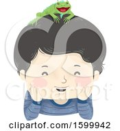 Clipart Of A Happy Boy With A Pet Iguana On His Head Royalty Free Vector Illustration