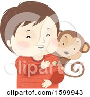 Clipart Of A Happy Boy With A Pet Monkey On His Shoulder Royalty Free Vector Illustration