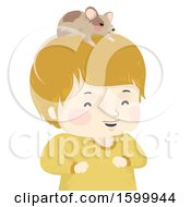 Happy Boy With A Pet Mouse On His Head