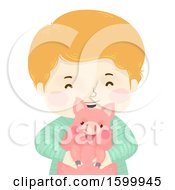 Clipart Of A Happy Boy Holding A Pet Piggy Royalty Free Vector Illustration