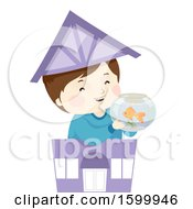 Clipart Of A Happy Boy Holding A Fish Bowl In A Toy Pet Shop Royalty Free Vector Illustration