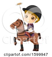 Clipart Of A Blond White Boy Playing Polo On Horseback Royalty Free Vector Illustration