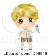 Blond White Zoo Keeper Boy With A Bird On His Hand