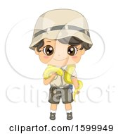Clipart Of A Zoo Keeper Boy With A Python Snake Royalty Free Vector Illustration