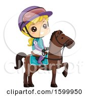 Clipart Of A Blond White Girl Jockey On A Horse Royalty Free Vector Illustration