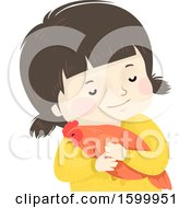 Clipart Of A Happy White Girl Hugging A Pet Chicken Royalty Free Vector Illustration