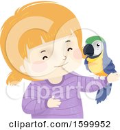 Clipart Of A Happy White Girl Holding A Pet Parrot Royalty Free Vector Illustration