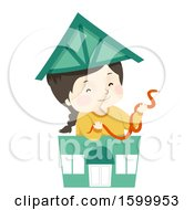 Clipart Of A Happy White Girl Holding A Pet Snake In A Toy Pet Shop Royalty Free Vector Illustration