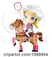 Clipart Of A Blond White Polocrosse Girl On A Horse Royalty Free Vector Illustration