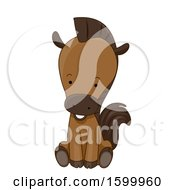 Clipart Of A Cute Horse Sitting Royalty Free Vector Illustration