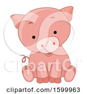 Clipart Of A Cute Sitting Piglet Royalty Free Vector Illustration