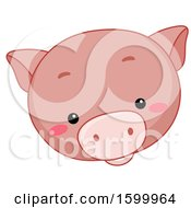 Clipart Of A Cute Pig Face Royalty Free Vector Illustration