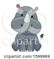 Clipart Of A Cute Sitting Rhinoceros Royalty Free Vector Illustration