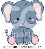 Clipart Of A Cute Sitting Elephant Royalty Free Vector Illustration